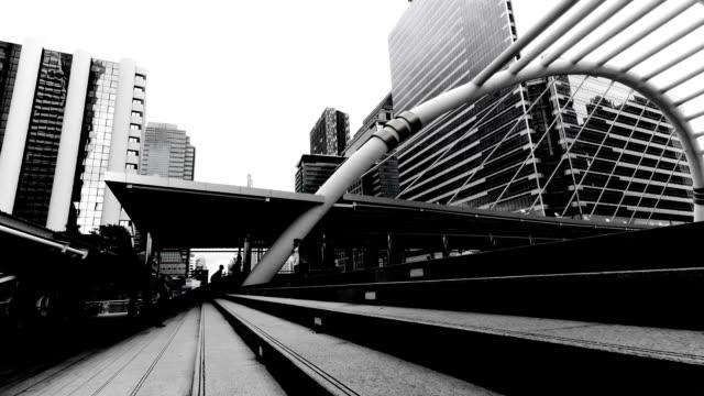 Timelapse of walkway in black&white video