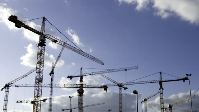 Timelapse of working cranes in Berlin video