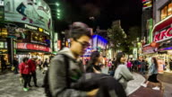 Timelapse of young customers wander at Ximending shopping street, Taipei, China video