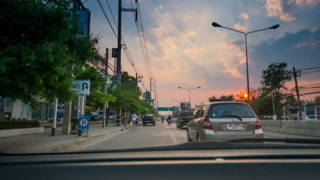 Time-lapse on the road at sunset time , 4k(UHD) video