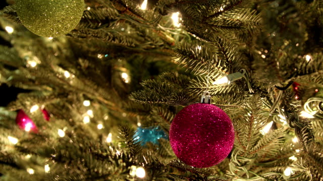 timelapse ornaments and lights on tree video