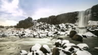 4K Time-lapse: Oxararfoss Waterfall winter Pingvellir National Park Iceland video