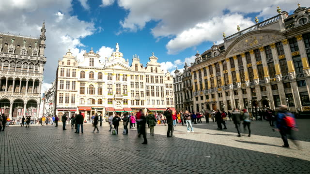 HD Time-lapse panning: City Pedestrian at Grand Place Brussels Belgium video