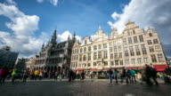Time-lapse panning: City Pedestrian at Grand Place Brussels Belgium video