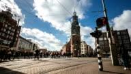 HD Time-lapse panning: City Pedestrian Munttoren Flower market Amsterdam video