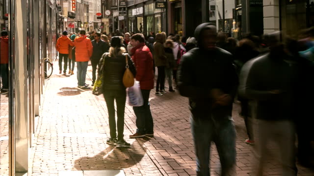 HD Time-lapse Panning: City Pedestrian Shopping street Dam Square Amsterdam video