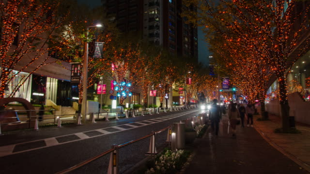 4K Time-lapse panning :Keyakizaka Street at Roppongi in Tokyo , Japan video