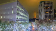 4K Timelapse Panning : Tokyo Tower and Christmas illuminations in Roppongi Tokyo , Japan video