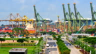 Timelapse panoramic view in Singapore in working day .Zoom out effect video