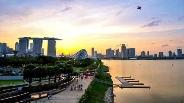 Timelapse panoramic view in Singapore . Nobay video