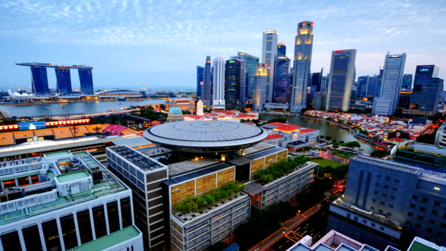 Timelapse panoramic view in Singapore .Zoom out effect video