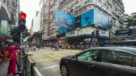 4K Timelapse : Pedestrian crossing the shopping street at tsim sha tsui Hongkong video