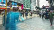4K Timelapse : Pedestrian crossing the  street at tsim sha tsui Hongkong video