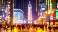 HD Time-lapse: Pedestrian Crowd at Chongqing Jeifangbei Town Square, China video
