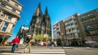 4K Time-lapse: Pedestrian crowded at Cologne Cathedral Germany video