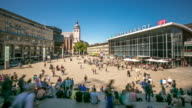 4K Time-lapse: Pedestrian crowded at Cologne Hauptbahnhof train station Germany video