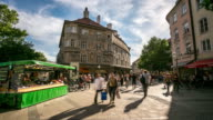 4K Time-lapse: Pedestrian crowded at farmer market square, Munich, Germany video
