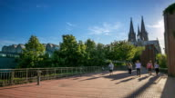4K Time-lapse: Pedestrian crowded at Hohenzollern Bridge Cologne Cathedral Germany video