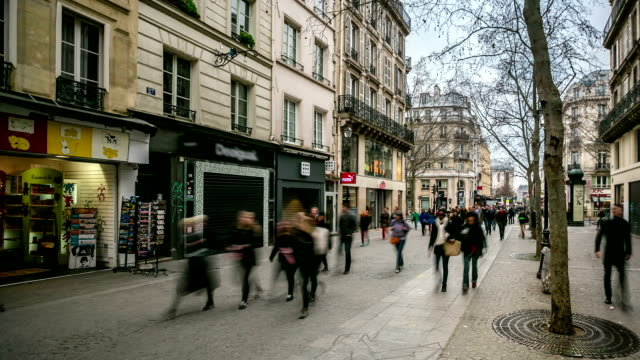 HD time-lapse: Pedestrian Crowded at Pompidou Square Paris video