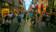 4K Time-lapse: Pedestrian crowded at Rhine Garden town square Germany video
