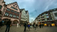 4K Time-lapse: Pedestrian crowded at Romerberg Town square Frankfurt Germany video