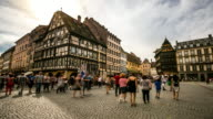4K Time-lapse: Pedestrian crowded Cathedrale Notre Dame Square Strasbourg France video