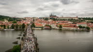 4K Time-lapse: Pedestrian Crowded Charles Bridge Karluv Most Czech Republic video