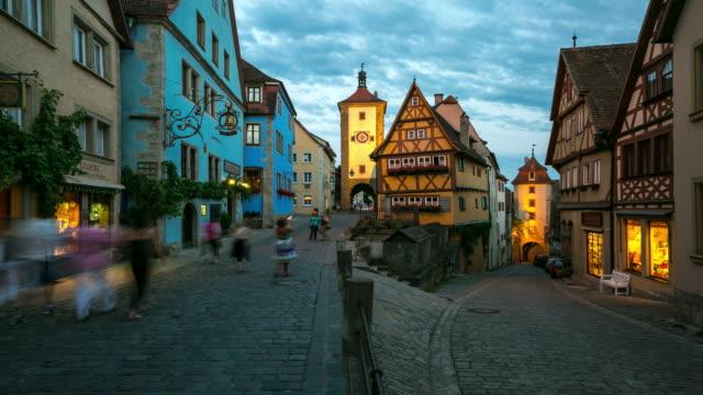 4K Time-lapse: Pedestrian crowded Rothenburg ob der Tauber Bavaria, Germany video