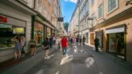4K Time-lapse: Pedestrian crowded Salzburg Cityscape city square Austria video
