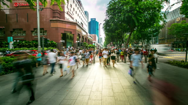 4K Time-lapse: Pedestrian crowed at sidewalk of Orchard Singapore video