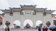 4K time-lapse : Pedestrian crowed in Chiang Kai-shek Memorial Hall, Taipei, Taiwan video