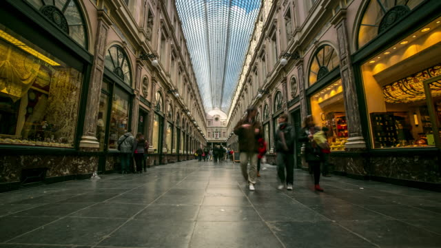 Time-lapse: Pedestrian shopping at Galeries Grand Place Brussels Belgium video