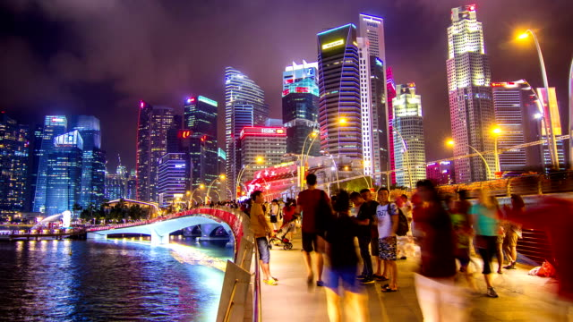 HD Time-lapse : Pedestrians at Marina Bay Singapore. video
