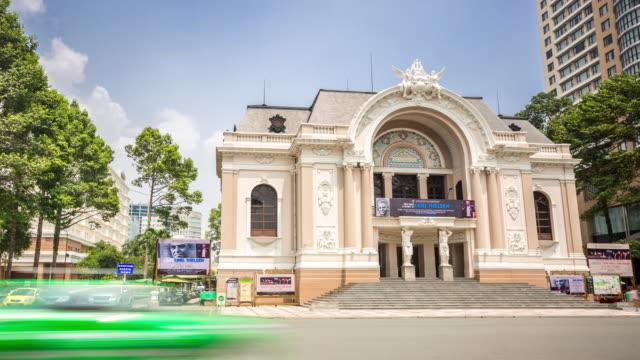 4K Time-lapse: Pedestrians at Opera house Ho Chi Minh Viatnam video
