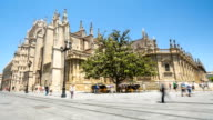 HD Time-lapse: Pedestrians at Seville Cathedral Square, Spain video