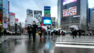 HD Time-lapse: Pedestrians at Shibuya Crossing with raining video