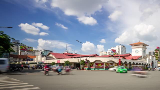 4K Time-lapse: Pedestrians ben thanh market Ho Chi Minh Viatnam video
