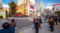 Time-lapse: Pedestrians crossing crowded at Shinjuku Tokyo video