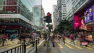 4K Time-Lapse : Pedestrians crossing the street at Tsim sha Tsui District video