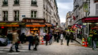 HD Timelapse: Pedestrians Crowd at shopping street Montmartre, Paris video