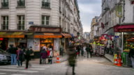 Timelapse: Pedestrians Crowd at shopping street Montmartre, Paris video