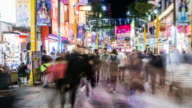 Time-Lapse: Pedestrians crowd Ximending shopping street Ximen, Taipei Taiwan video