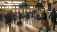 Time-lapse: Pedestrians crowded at Gare Saint-Charles station video