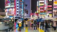 Time-lapse: Pedestrians crowded at Kabuki-cho Shinjuku Tokyo night video