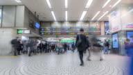 Time-lapse: Pedestrians crowded at Shinjuku station Tokyo video