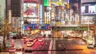 HD Time-lapse: Pedestrians crowded at Shinjuku Tokyo night video