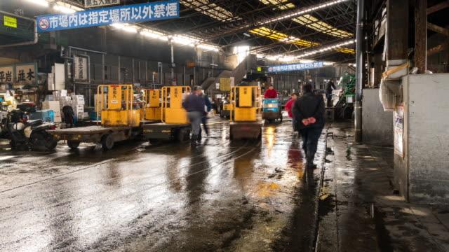Time-lapse: Pedestrians crowded at Tsukiji Fish Market Tokyo Japan video