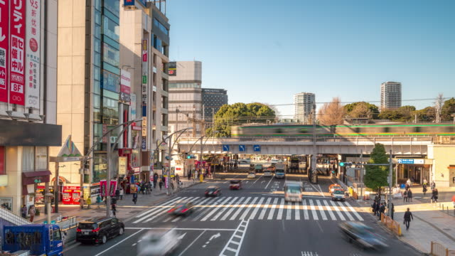 Time-lapse: Pedestrians crowded crossing at Ueno station Tokyo video