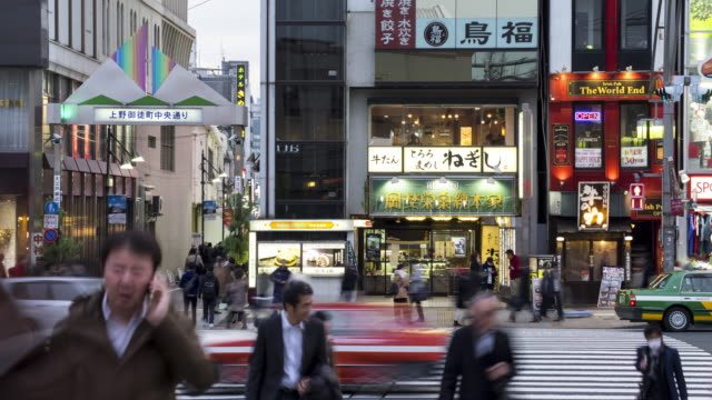 4K Time-lapse: Pedestrians crowded crossing at Ueno station Tokyo video