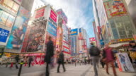 4K Time-lapse: Pedestrians crowded shopping at Akihabara electric town Tokyo video